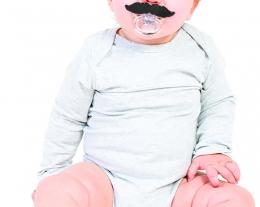 ciuccio divertente bimbo, regalo divertente neonato, ciuccio con baffi