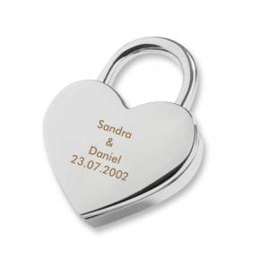 lucchetto a forma di cuore con incisione, regali per lu romantici