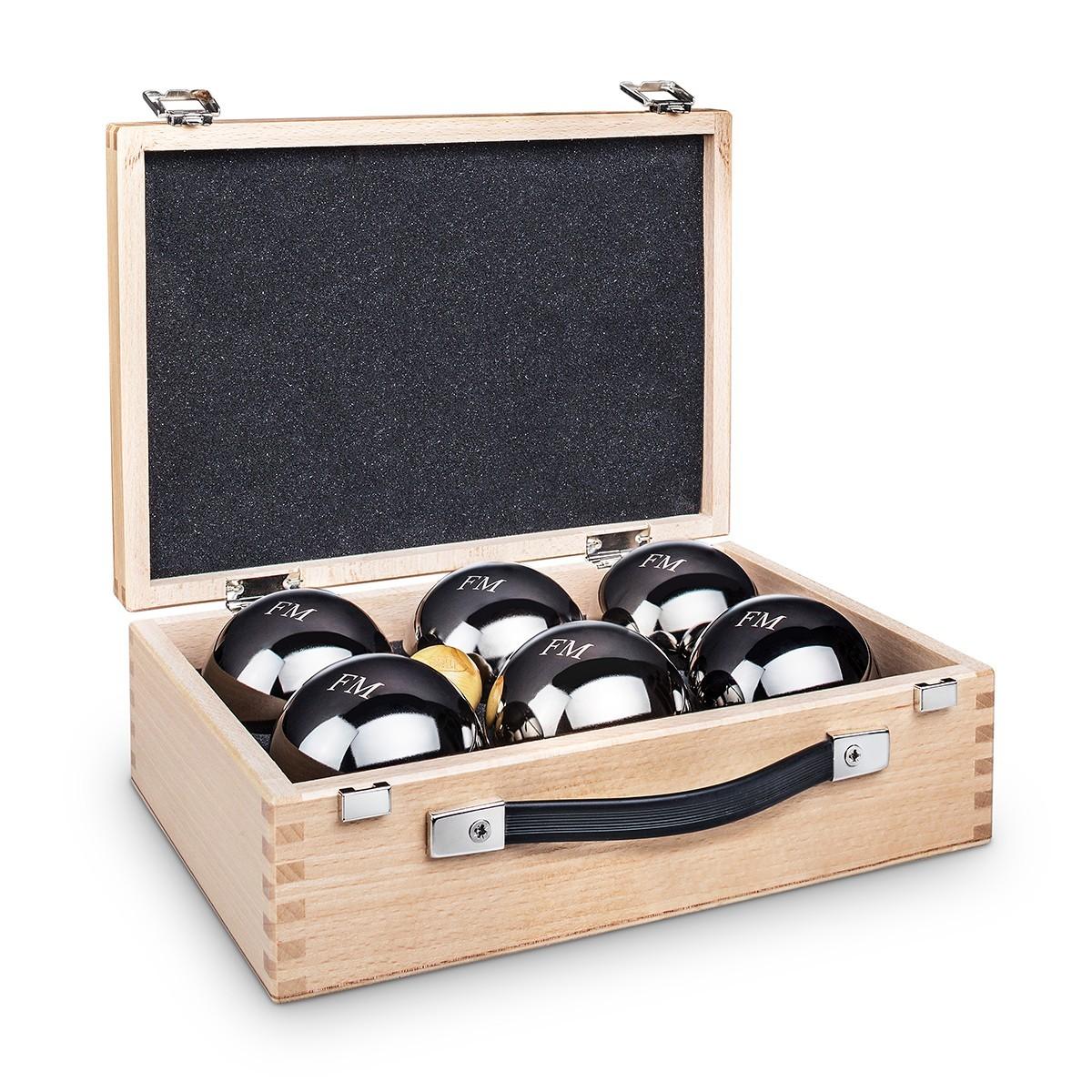 set bocce con scatola personalizzabile, regalo pensione uomo