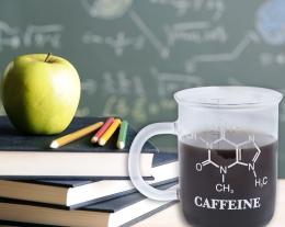 tazza caffè con formula chimica della caffeina, regali per chi ama il caffè, regali originali