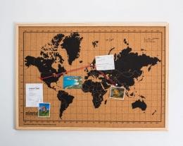 Cartina mondo in sughero, mappa del mondo da appendere, regalo per chi ama i viaggi
