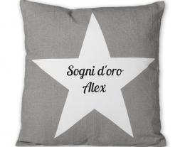 Cuscino Stella personalizzabile con scritta, regali personalizzati, idee regalo ragazzo