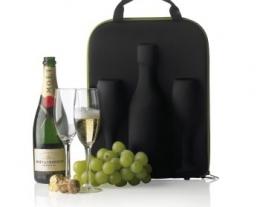 portabottiglia per champagne e spumante con due bicchieri, regali per chi ama il vino, regali per lui